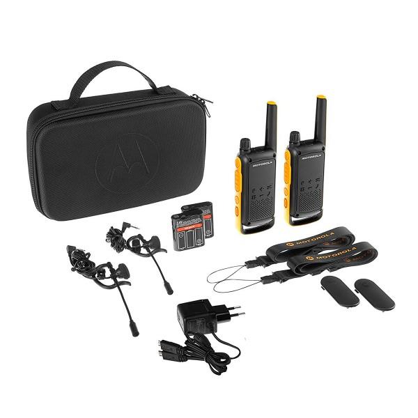 Motorola t82 extreme negro amarillo pareja walkie talkies 10km ipx4 linterna led