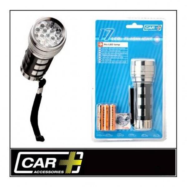 Linterna aluminio 17 leds con pilas incluidas