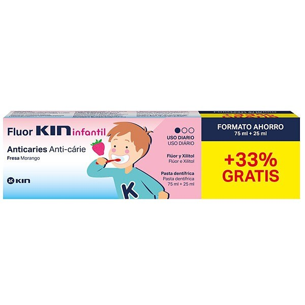 FLUOR KIN INFANTIL DENTÍFRICO 75 + 25 ML PROMO